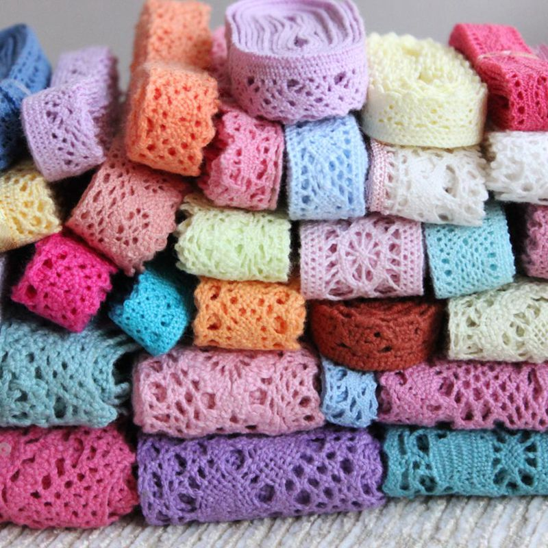 5yards/lot 1-3cm White Beige Colorful Cotton Lace Trims Handmade Patchwork DIY Hometexile Sewing Cotton Ribbon Fabric Material