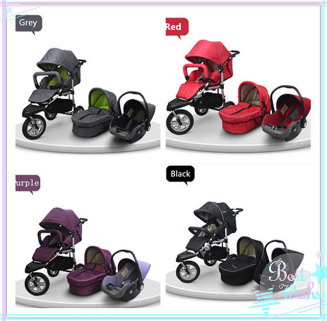 Large Basket Flexible Adjustment Of The Device Quick Release Pneumatic Wheels Baby Stroller 3 in 1