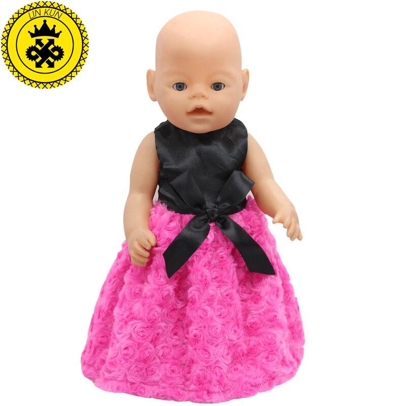 Fit 43cm Baby Doll Clothes Black Shirt Rose Shape Dress