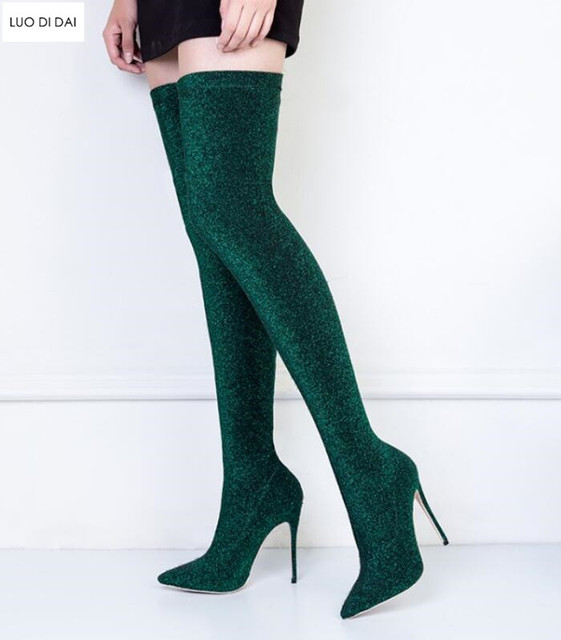 c8a024ac 2019 glitter point toe long boots sequin thigh high sock boots women party  booties Stretch Fabric over knee high boots dress