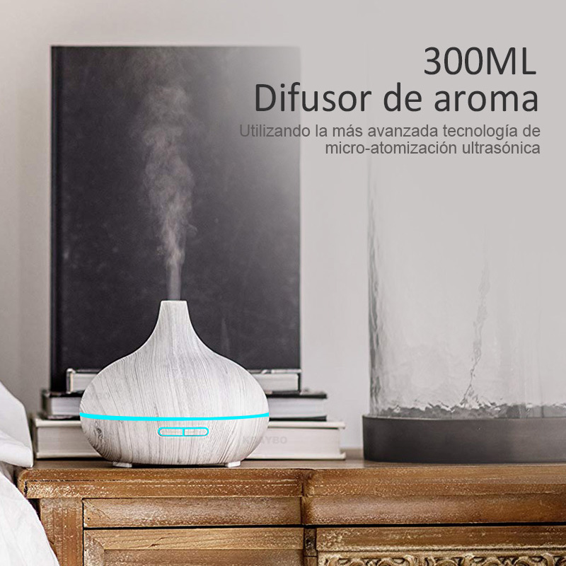 2019 New 300ML White Remote Control Ultrasonic Wood Grain Humidifier Aromatherapy Aroma Essential Oil Diffuser for Home Bebe in Humidifiers from Home Appliances