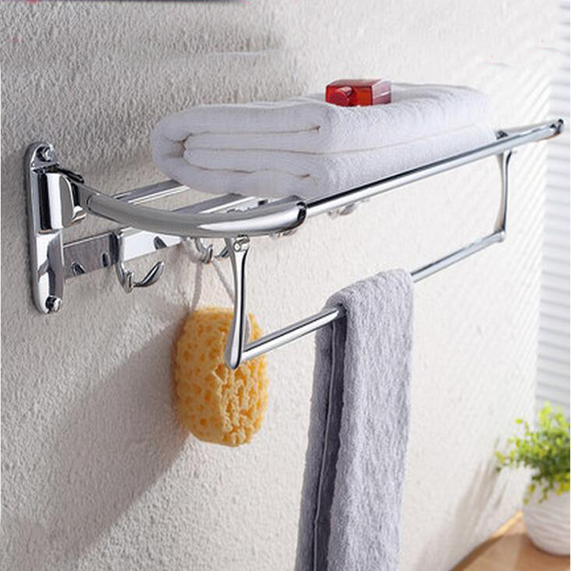 Wholesale And Retail Classic Chrome Brass Towel Rack Shelf Bathroom Towel Shelf Towel Bar W/ Hooks Hangers Clothes Shelf retail aluminium towel bar