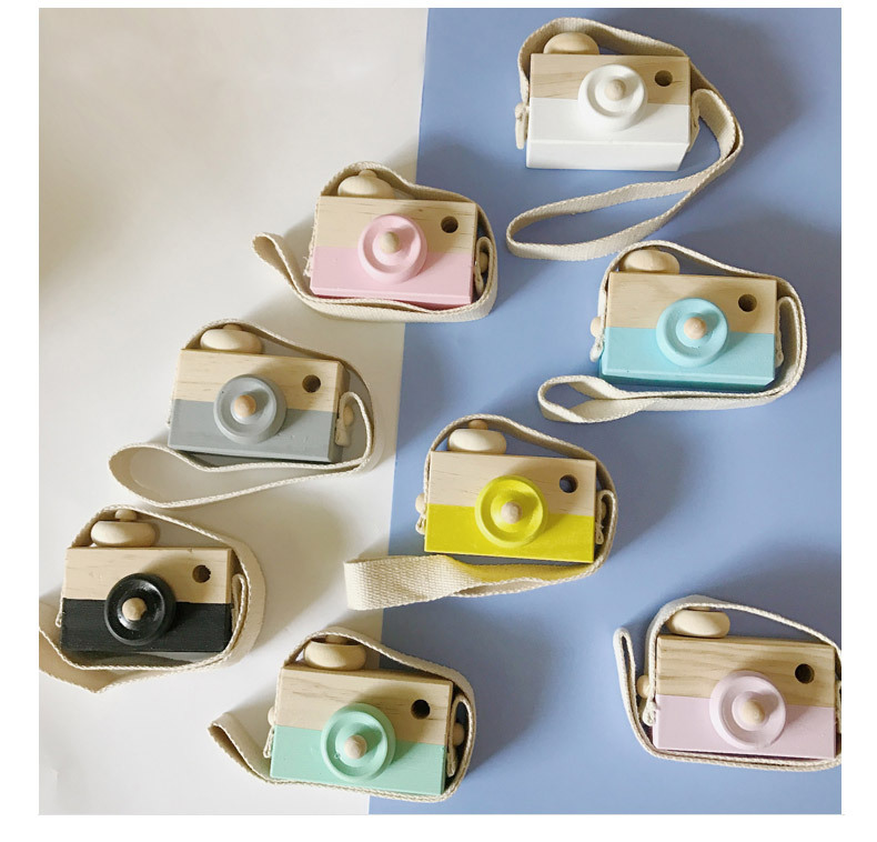 1PC Wooden Camera Cute Cartoon Baby Kid Creative Neck Camera Photography Prop Decoration Educational Children Wood Craft MA 005