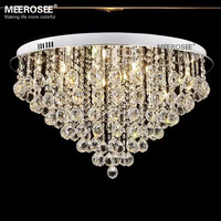 Round Crystal Chandelier Light Fitting G4 Flush Mounted Lustres de cristal Chandelier lighting for foyer Lamparas de Techo Home