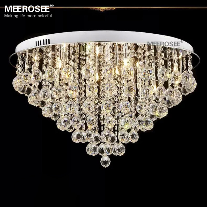 Round Crystal Chandelier Light Fitting G4 Flush Mounted Lustres de cristal Chandelier lighting for foyer Lamparas de Techo Home : 91lifestyle