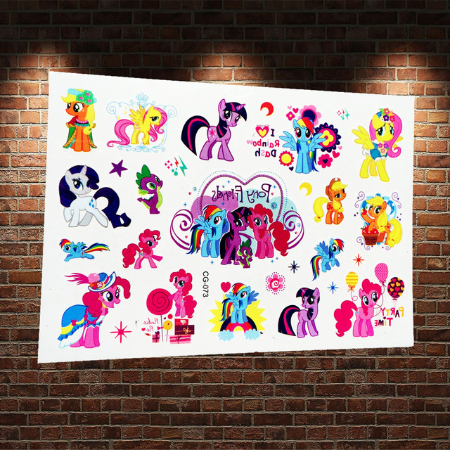 My Little Pony Temporary Tattoo Kids Fake Tatoo Body Art Arm Paste ACG73 Child Waterproof Cartoon Tattoo Stickers