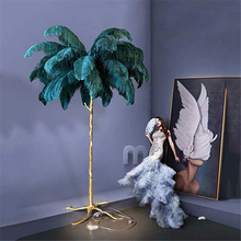 Nordic LED Floor Lights Ostrich Feather Gold Copper Brass Resin Lamp Tripot Standing Lamps Living Room Decorate