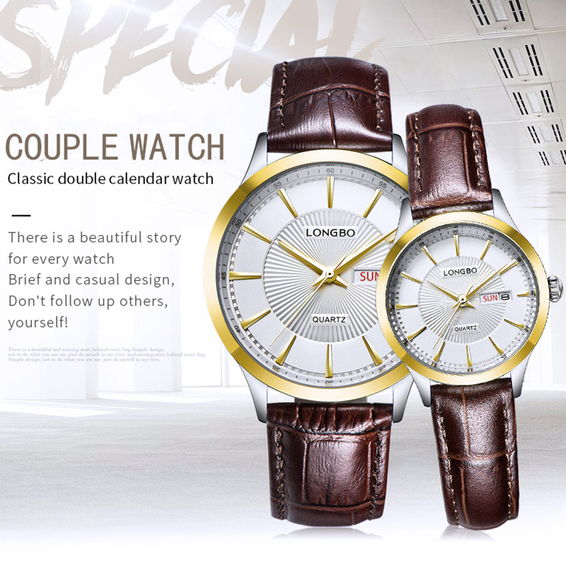 LONGBO 2019 Couple Watch Luxury Quartz Women Men's Watches Montre Homme Leather Strap Waterproof Gift For a Man Clock Relogios