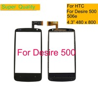 10Pcs/lot 4.3 For HTC Desire 500 506e Touch Screen Sensor Digitizer Glass Front Outer Touch Panel Lens NO LCD Replacement