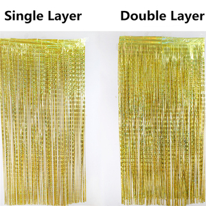 Image 5 - 1*3M Blue Pink Rose Gold Shimmering Foil Fringe Tinsel Door Curtain Wedding Birthday Party Decoration Photo Backdrop Supplies