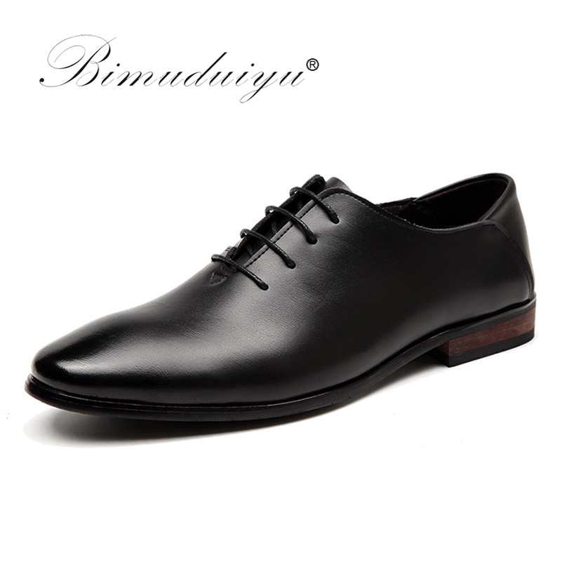 BIMUDUIYU Brand Men Business Formal Dress Shoes Lace Up Pointed Toe British Style Men Black Flats