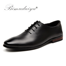 BIMUDUIYU Brand Men Business Formal Dress Shoes Lace-Up Pointed Toe British Style Black Flats Wedding