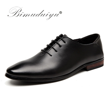 BIMUDUIYU Brand Men Business Formal Dress Shoes Lace-Up Pointed Toe British Style Men Black Flats Shoes Wedding Shoes spring autumn dress shoes man pointed toe business shoes men s flats oxfords lace up gradient color leather mens shoes casual
