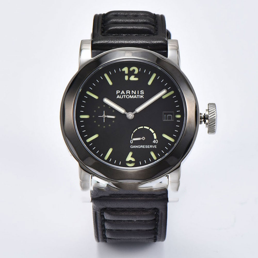 Valentines gifts Romantic Sweet 44mm Parnis Black Dial Luminous Hands Leather strap Automatic Watch Movement men
