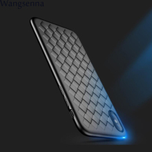 Super Soft Phone Case For iPhone 8 Luxury Grid Weaving Cases 6 6s 7 Plus X  XS MAX Cover Silicone Accessories Black