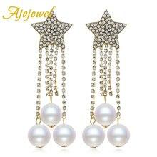 Ajojewel Full Rhinestone Star Streamlined Tassel Long Crystal Chandelier Earrings With Simulated Pearl Statement Jewelry