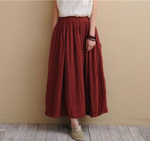7 Color Cotton Linen Long Skirts 2016 Spring Summer Women