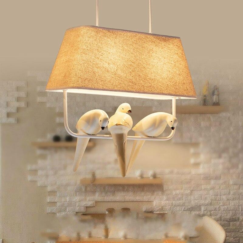 Village Rural oiseau pendentif nordique restaurant salle à manger chambre lampe personnalité créative café trois phares lampes et lanternes
