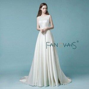 Image 2 - Satin Wedding Dress 2019 vestido de noiva simples gelinlik Simple Wedding Dresses With Pocket Ivory Backless Crystal Bridal Gown