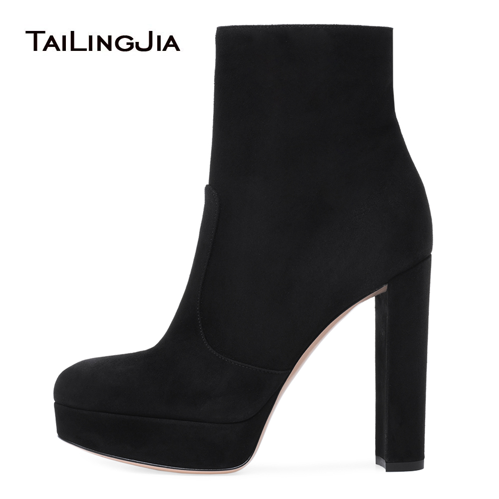 Women Black Faux Suede Platform Chunky Heel Ankle Boots Round Toe High Heel Booties Ladies Winter Short Boots with Zipper 2018 цена