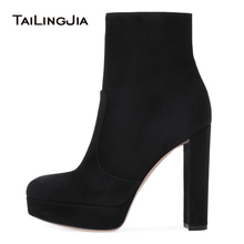 Women Black Faux Suede Platform Chunky Heel Ankle Boots Round Toe High Heel Booties Ladies Winter Short Boots with Zipper 2018 suede faux fur low heel ankle boots
