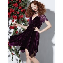 Rosetic Sommer Gothic Kleid Sexy Short Mini Backless Pleuche V-ausschnitt Lila  Kleid Plus Größe Nehmen Vintage Spitze Hohl Vocto. cb3d621fcc