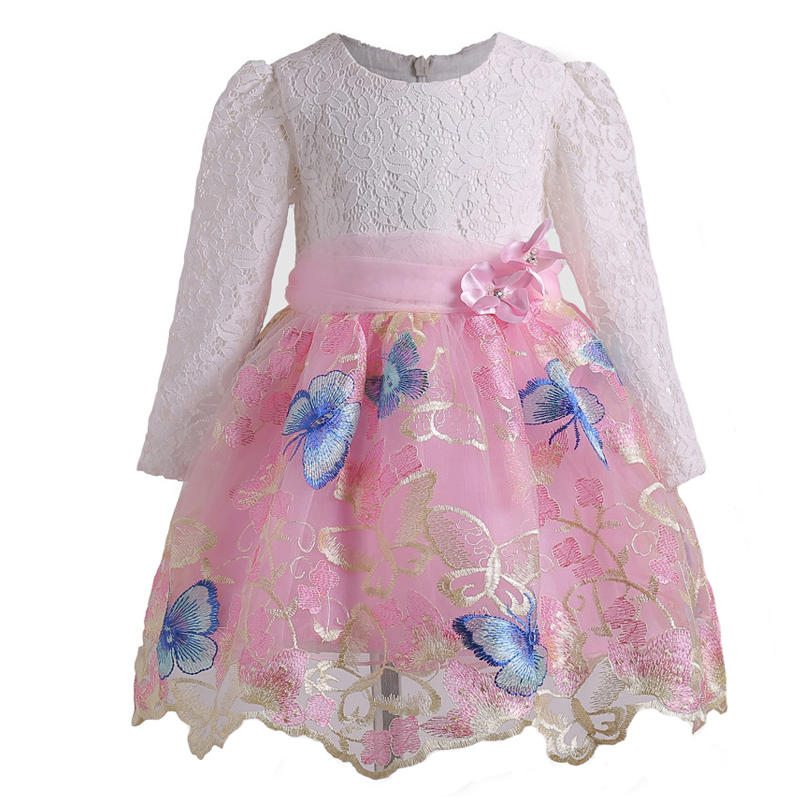 Nacolleo New Girls Dress Long Sleeve Kids Lace Clothes Spring and Autumn Embroidery Princess Baby Children Vestidoes Infaltil