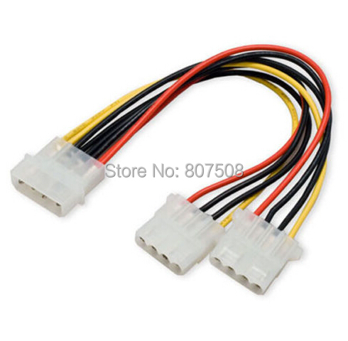 (100pcs/lot) 4 Pin Molex Male to 2x 4-Pin Molex IDE Female Power Y-Splitter Adapter Cable Whole sale