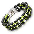 Heyrock High Quality Motorcycle Chain Bracelets Colorful Punk style 316L Stainless Steel Bike Chain Bracelet for Girls Boys