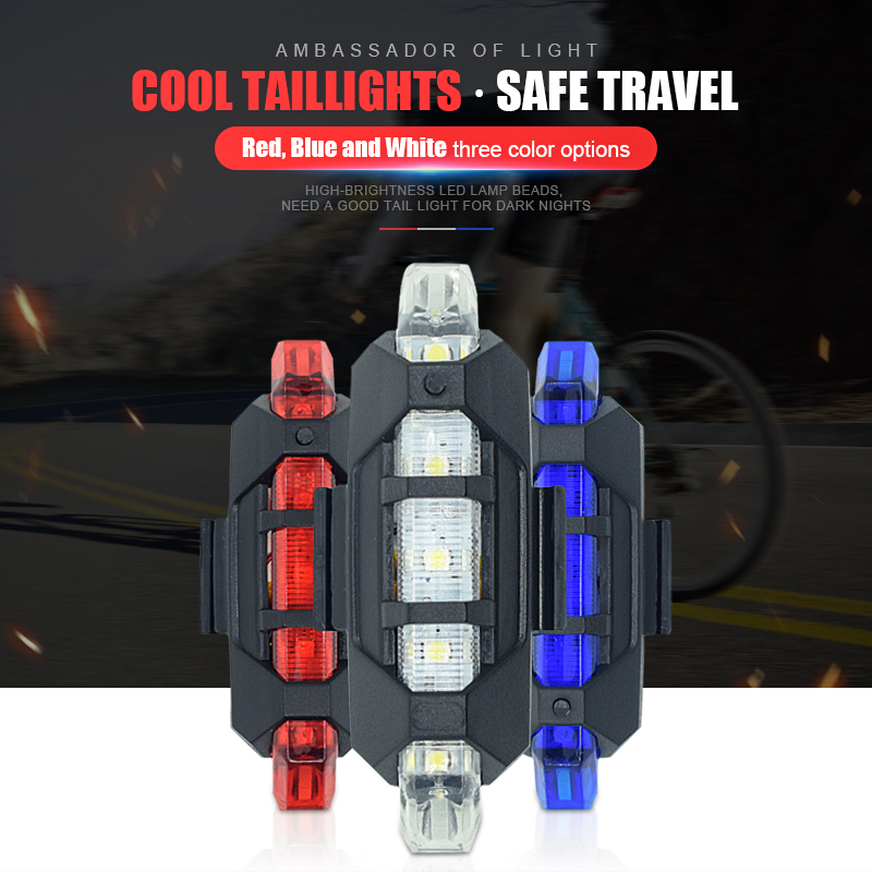 Bicycle Taillight Rechargeable Rear light Bicycle LED USB Tail Safety Warning Bicycle light waterproof Light For Cycling Bicycle