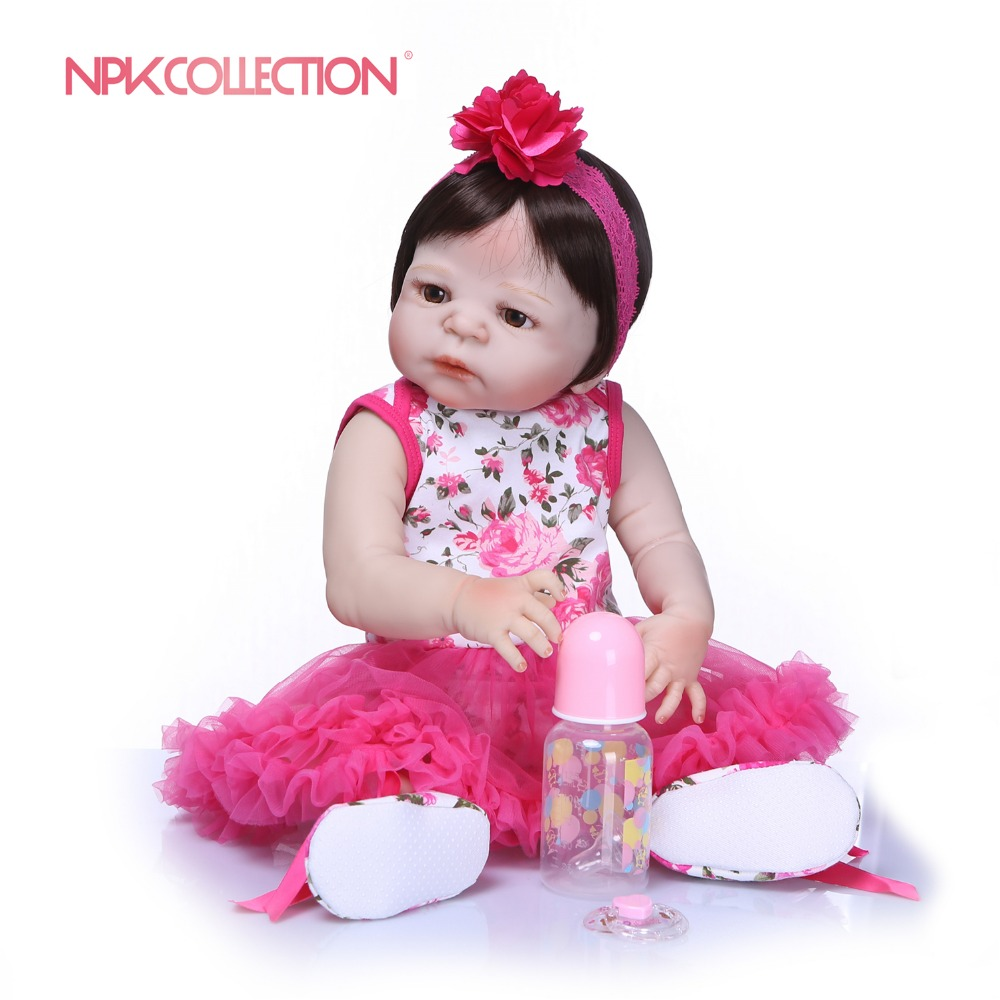 NPKCOLLECTION Handmade Full Silicone vinyl Adorable Lifelike Toddler Baby Bonecas Girl Bebe Doll Reborn Menina de Silicone Toys цены
