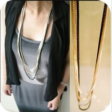 New Fashion Maxi Necklace Korean Choker Jewelry Collier Femme 2016 Strip Method Multilayer Metal Chain Pendant Necklace