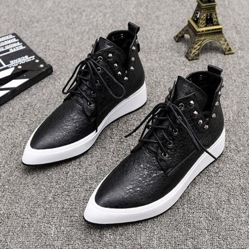 Tête Mode Et Dames Noir Rivet En Hiver Black Plat Haute Chaussures Automne top Velvet De Pointu Cuir Casual Plus black Véritable Femmes qtydWfTv7T
