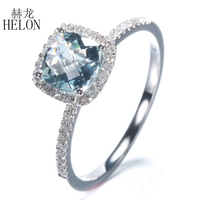 HELON Grid Surface 0 9CT Aquamarine Natural Diamonds Wedding Ring Solid 14K White Gold Engagement Classical
