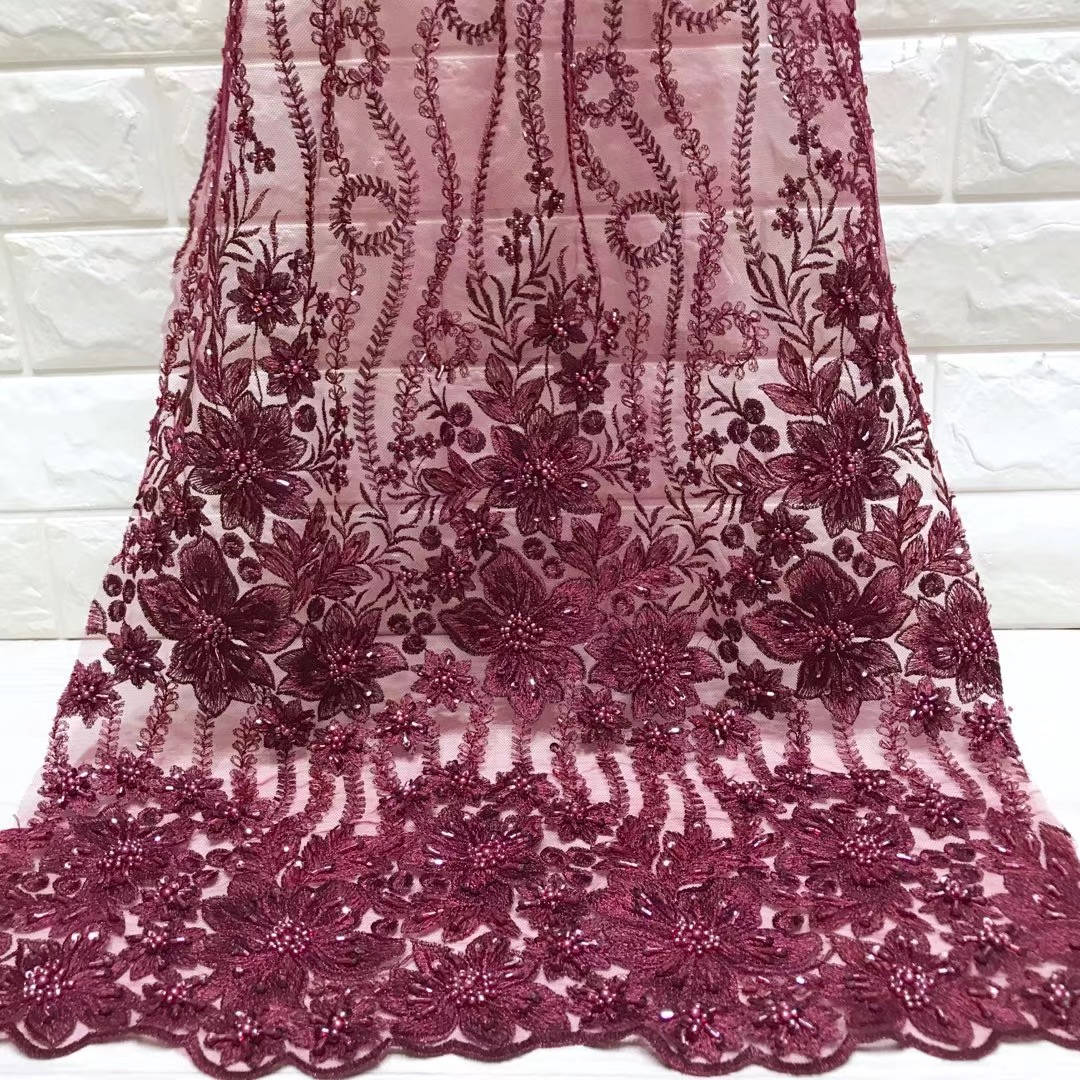 Beautifical african fabrics net lace embroidered beaded fabric for dress High quality nigerian lace fabric with sequins ML5N359Beautifical african fabrics net lace embroidered beaded fabric for dress High quality nigerian lace fabric with sequins ML5N359