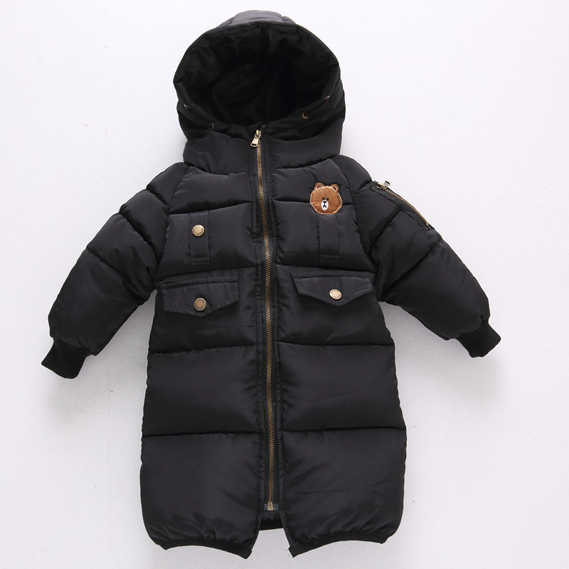 Winter Baby Hooded Outerwear Boys Girls Thick Warm Long Parka Winter Girls Cute Bear Hooded Jacket Boys Warm Coat D0382