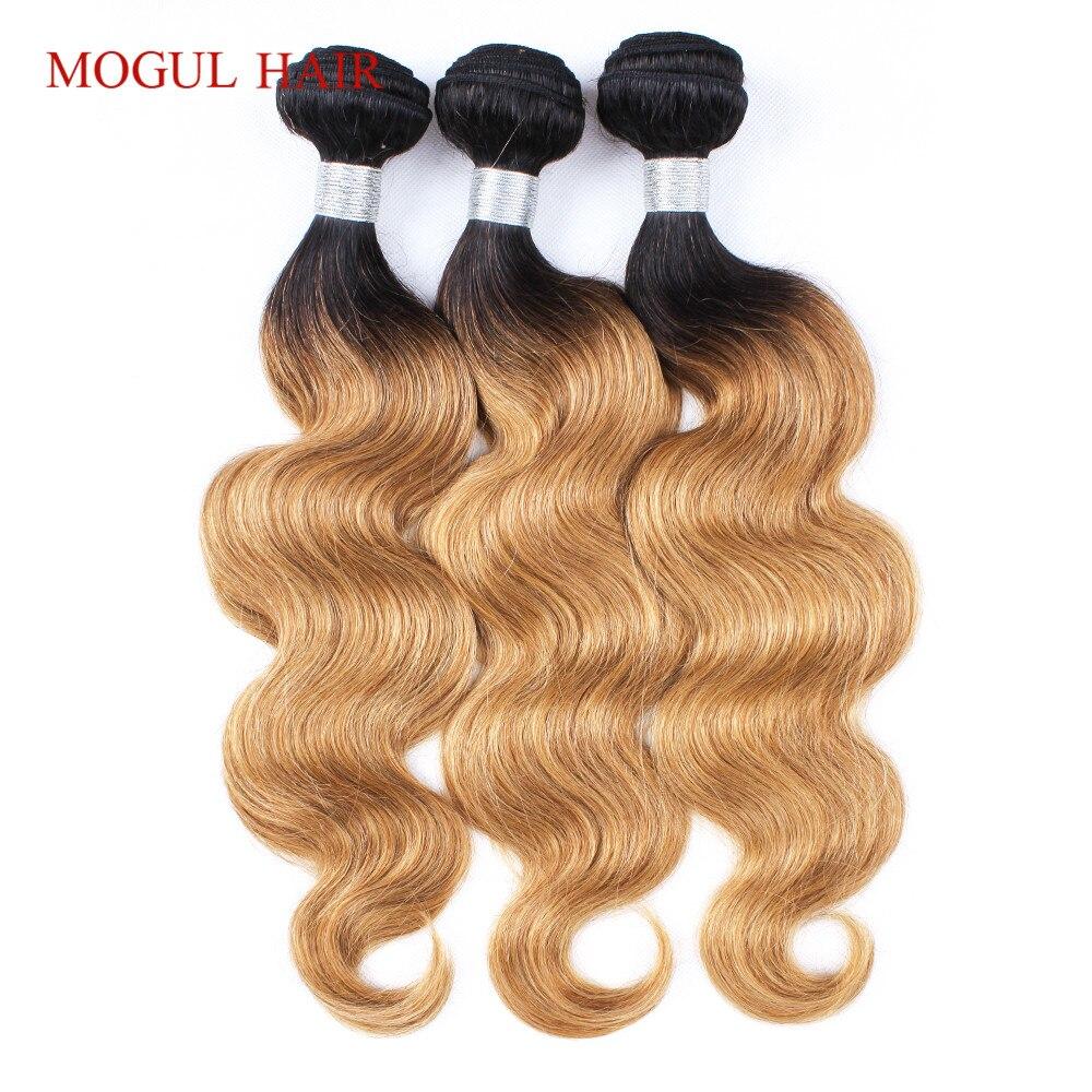MOGUL HAIR 2 3 Bundles T 1B 27 Ombre Honey Blonde Bundles Indian Body Wave Hair