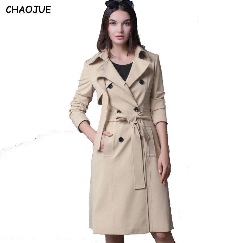 CHAOJUE Europe Style femelle Long manteau Trench femmes 2018 printemps/automne mode Double boutonnage bordeaux pardessus femmes manteaux