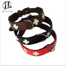 2017 Adjustable Cross Pet Collar Bone Good Quality Leather Dog Collar Mediums Large Dog Collars Cross
