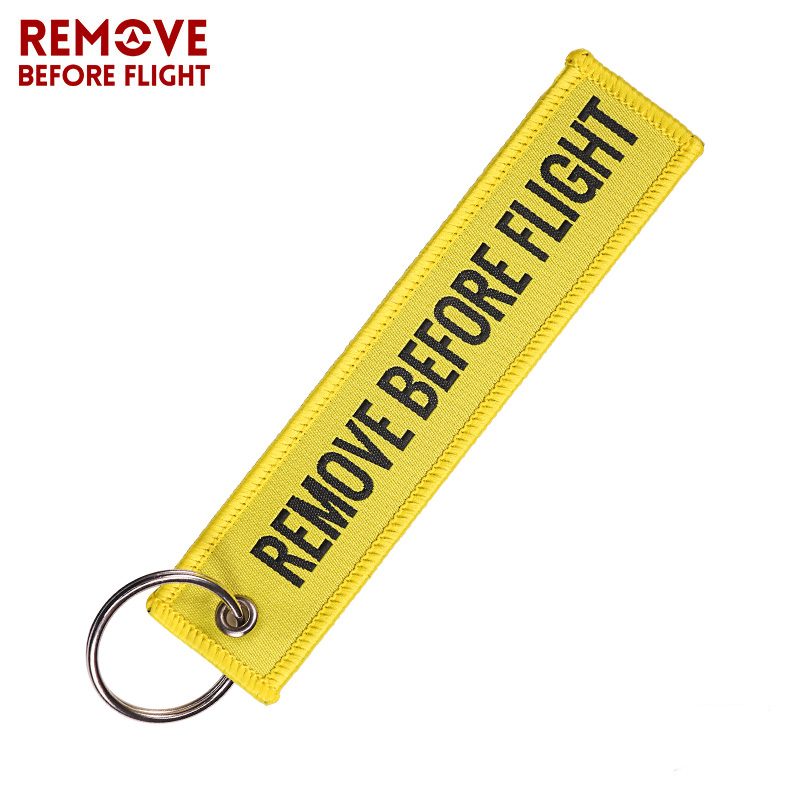 Remove Before Flight Woven Key Ring Special Luggage Tag Label Red Chain Keychain for Aviation Gifts OEM Keychain Fashion Jewelry