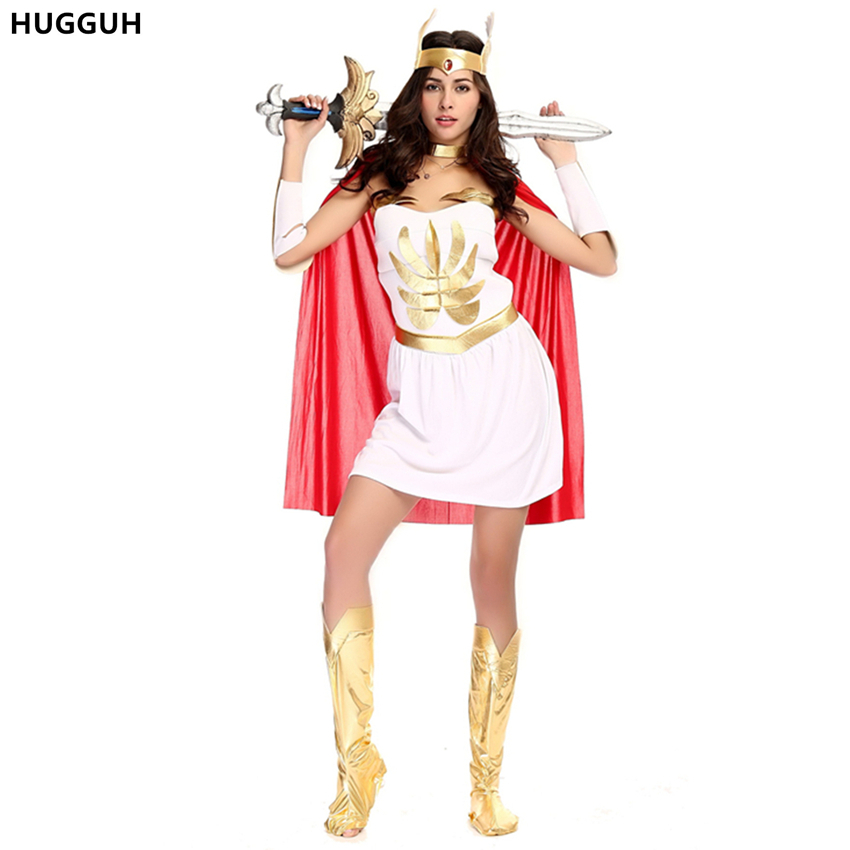HUGGUH Sexy Women White Dress Halloween Masquerade Cosplay Costume Greece Goddess Egypt Warrior Costume Clothing Set H1572033