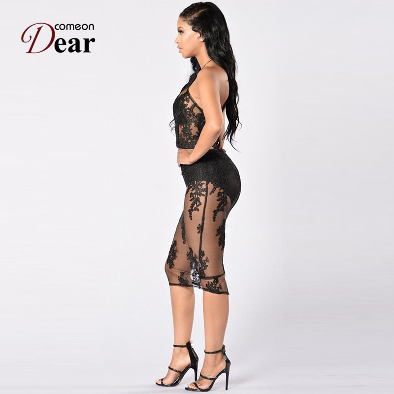 Comeondear RA80469 Outfits Mesh Party Dresses Spagetti Strap Flower Lace 2  Piece Bodycon Dress Sexy Appliques Party Clubwear-in Dresses from Women s  ... 1bfbe9cbee43