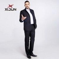 Xijun Для мужчин костюмы 2 шт. (куртка + брюки) В черный формальный Бизнес установить Высокая шея свадебные Женихи Для мужчин Повседневное смоки