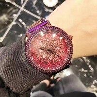 New Purple Lucky Flower Women Watches Luxury Lady Rotation Dress Watch Big Diamond Stone Wristwatch Girl Clocks Hours& Box