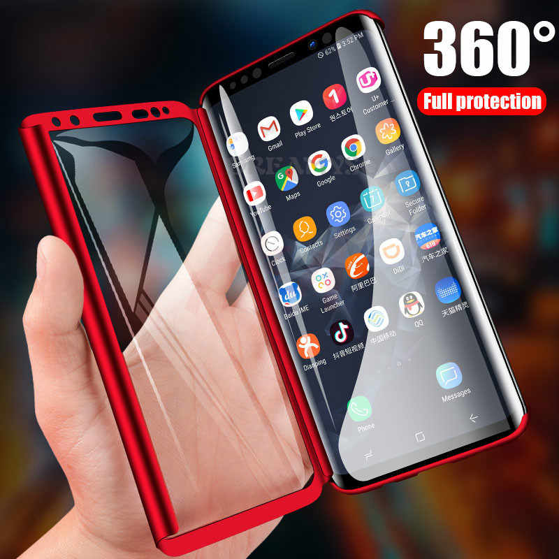 360 Full Body PC Case For Samsung Galaxy A50 A70 A40 A30 A10 M20 M10 J4 J6 A6 A8 Plus A7 A9 2018 S10 S9 S8 Plus S7 Edge Cover