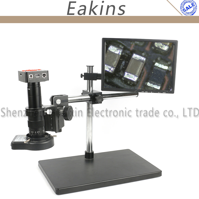 1080P 60FPS HDMI USB Industrial Video Microscope Camera+180X 300X C-Mount Lens +144 led lights For PCB SMD SMT Repair Soldering 1080p 16mp usb hdmi hd indusry video microscope camera 300x 180x c mount lens 144 led light for phone repair soldering pcb