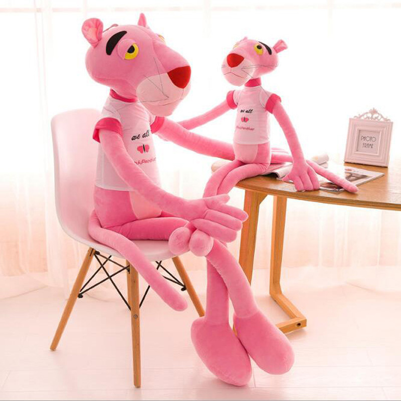 Lovely Leopard Stuffed Animal Plush Toys Pink Panther Plush Toys With T-shirt Kid's Sleeping Dolls Baby Gifts