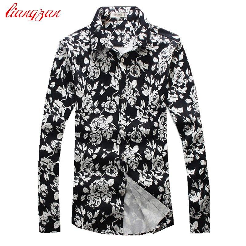 WM /& MW Mens Shirt Slim Fit Long Sleeve Fashon Vintage Boho Print Fancy Shirt Casual Business Blouse Tops