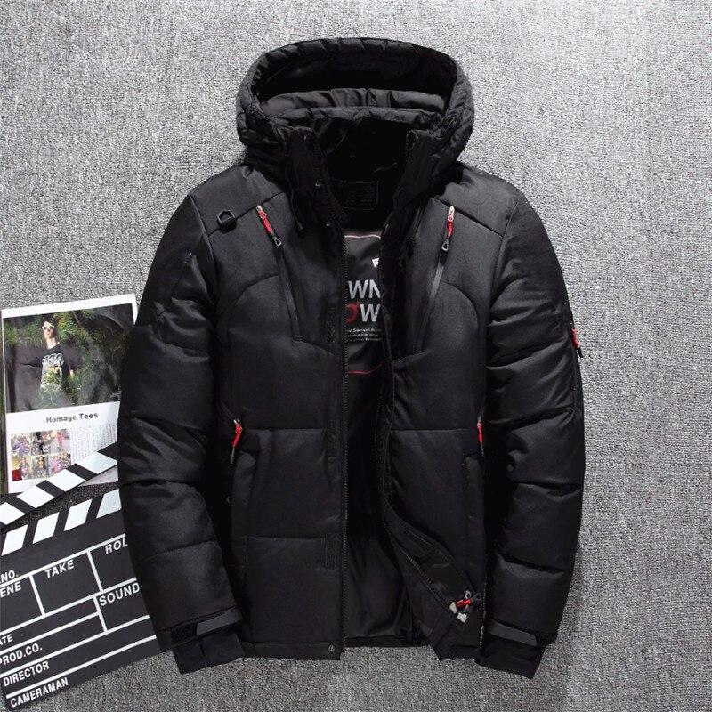 Veste de Ski pour hommes d'hiver améliorée plusieurs poches épaissir 80% vestes à capuche en duvet de canard blanc manteau de neige garde au chaud - 2
