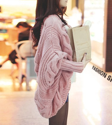 Winter Knitted Sweater Batwing Sleeve Cardigan Loose Cape Womens